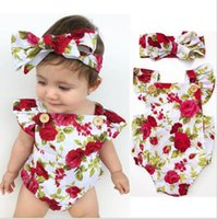 Wholesale Headbands Rosettes - Infant Baby Girls Print Rosette Floral Rompers Kids Girls Summer Cotton Jumpsuits with Floral Headbands 2017 childrens clothing