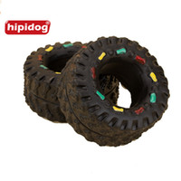 Wholesale Tire Chew Toy - Hipidog Dog's Toys Chew Tire Tread Tough Animal Squeaky Sound Hard Wearing Rubber Pet Product Dog Supplies Doggies Toys