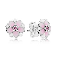 Wholesale Crystal Flower Silver Earrings - New 925 Sterling Silver Earring Enamel Magnolia Bloom With Crystal Studs Earring For Women Compatible With Pandora Jewelry