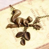 Wholesale Bronze Squirrel - Wholesale-New Arrival Handmade Bronze Tree Branches Squirrel Long Necklaces & Pendants For Women Vintage Jewelry Accessories