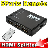 5 Port HDMI Splitter Switch Switcher Caixa Selector 1080P para Xbox 360 HD DVD TV com IR Controle Remoto + IR cabo do receptor