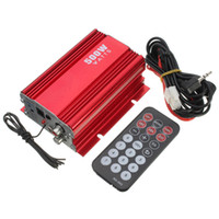Freeshipping 500W voiture moto moto 2CH 2 canaux audio AMP amplificateur USB MP3 FM rouge