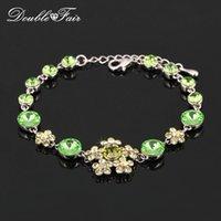 Wholesale Gold Crystal Snowflake Charm - Snowflake Green Crystal Fashion Bracelets & Bangles 18K Platinum Plated Imitation Gemstone CZ Diamond Engagement Jewelry For Women DFH135
