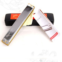 Wholesale Musical Folk Instruments - wholesale Dunhuang 24 holes C tone Tremolo Harmonica Sliver Wind Musical Instruments Mouth Organ Toys Beginner Kids Gifts Folk Master