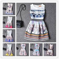 Wholesale Butterfly Print Dresses For Women - 2017 New Hot American Vintage Dresses 20 Colors Crew Neck Casual Elegant Dresses For Women Butterfly Print Beautifull Fashion Dress