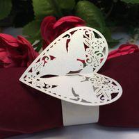 Wholesale Laser Cut Napkin - Laser cut heart Napkin Rings Serviette Holder Wedding Banquet Dinner Decor Favor