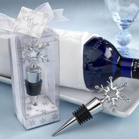 Wholesale Snowflake Wine - Lovely Snowflake Wine Bottle Stopper Favors Gifts Red Wine Storage Twist Cap Plug Wedding Party Supplies ZA3696