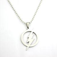 Wholesale Dc Superheroes Logo - Free Shipping The Flash DC Superhero Flash Lightning Logo Stainless Steel Chain Pendant Justice League Superman Dwyane Necklace