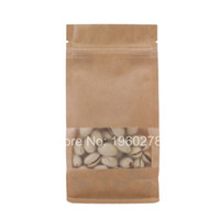 "Wholesale Wholesale Flat Kraft Paper Bags - 10x20+6cm (4x7.75+2.25"") zip lock tea brown kraft paper packing bag Side Gusset Flat Bottom Pouch with clear window"