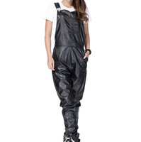 Wholesale Women Leather Overalls - New Arrival Fashion Man Women Mens Hiphop Hip Hop Swag Black Leather Overalls Pants Jogger Urban Clothes Clothing Justin Bieber