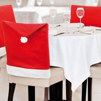 Wholesale Cover Caps - Wholesale-3Pcs Santa Red Hat Chair Back Cover Christmas Decoration Dinner Chair Cover Caps