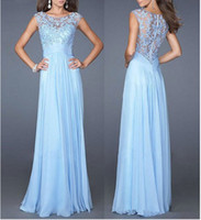 Wholesale Chiffon Short Wedding Club Party - Women's Wedding Dress Sexy Deep Prom Dresses Lace Long Party Occasion Gowns Long Evening Dress sexy Slim light blue Pink lace chiffon back