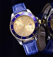 Wholesale Unique Sapphires - top brand hot sale luxury model unique designer sapphire watches mens Gold face steel date metal ceramic digital bezel leather clock women