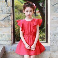 Wholesale 559 Fashion - Girls Dress Kids Clothing 2017 Summer Lotus Leaf Edge Dress Korean Fashion Bow Princess Dress EC-559