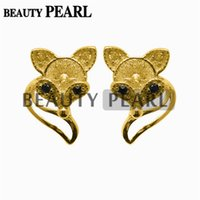 Barato Brincos De Ouro Diy Brincos-5 Pairs Pearl Earring Mount Cute Fox 925 Sterling Silver DIY Jóias Stud Earring Findings Gold