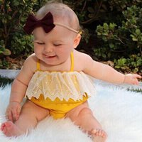 Wholesale Cutest Baby Outfits - Baby Girls Rompers New Fashion Halter Yellow Onesies Outfits For Newborns Cutest Babies Summer Costumes