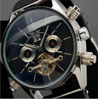 Wholesale Men Titanium Rubber Bracelet - Mechanical Calendar Wristwatch Men Tourbillon Fahion Smart Chronograph Automatic Skeleton Silicone Watches Rubber Band Bracelet Watch Gift
