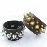 Wholesale Studs Spikes Bracelet - 1pcs Unique three Row Cuspidal Spikes Rivet Stud Wide Cuff Leather Punk Gothic Rock Unisex Bangle Bracelet men jewelry Fashion Accessories