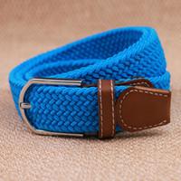 Wholesale stretch woven belt resale online - DHL big children Mens Womens Canvas Plain Webbing Metal Buckle Woven Stretch Waist Belt canvas Braided Belts good qulity C281