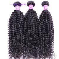 en iyi kıvırcık saç paketleri toptan satış-Kinky kıvırcık Brezilyalı İnsan Saç uzantıları İşlenmemiş Sapıkça kıvırcık bakire remy Saç Demetleri Boyanabilir En Kaliteli Saç Örgü 1b natual siyah
