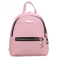 Wholesale School Girl Korea - 2017 Women's Leather Backpack children backpack candy color Korea school style student mini backpack for teenage girls New Style