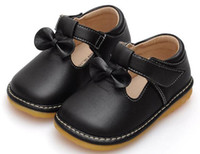 Wholesale Squeaky Squeaker - baby girls squeaky shoes squeaker PU T-Strap black spring autumn sapatos nina chaussure girls bowtie shoes kids wee squeak