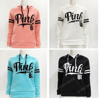 Wholesale Plus Size White Sweater - Women Pink Letter sports Hoodies Pink Pullover Tops Brand Shirt Coat Sweatshirt Long Sleeve Casual Sweater Fashion Hooded Coat Plus Size