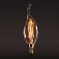 ingrosso lampadina di carbonio-40W Carbon Art lampadine stile antico Tungsten Vintage Edison lampada C35 Warm White E14 110V 220V alogene Lampadine Illuminazione