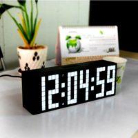 Wholesale Desk Clock Temperature - Big Font Digital LED Wall Alarm Clock Calendar Timer Temperature Clock Home Decor Table Desk Clock No-ticking Mute