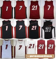 Wholesale Size 21 - Cheap 21 Hassan Whiteside Jersey 1 Chris Bosh 7 Goran Dragic Throwback Christmas Home Color Black Red White Stitched With Name Size 44-56