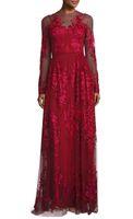 Wholesale Short Gold Prom Dresse - 2016 zuhair murad dresses beaded floral embroidered burgundy tulle skirt evening dresses long sleeves jewel neckline sweep train prom dresse