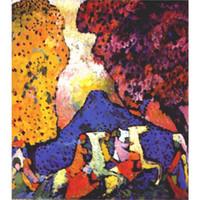 pinturas a óleo modernas azul venda por atacado-Pinturas modernas de alta qualidade por Wassily Kandinsky Blue óleo de montanha sobre tela pintados à mão Home decor