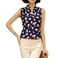 Wholesale Tunic Chiffon Shirt - Sleeveless Chiffon Office Shirts Blusa Womens Off Shoulder Boho Tops 2017 Summer Ladies Floral Blouse Femme 3XL Plus Size Tunic