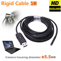 Wholesale Waterproof Camera Pipe - 5.5mm USB Endoscope Camera HD 6 LEDs Borescope Snake Inspection Pipe Tube Video Mini Camera IP67 Waterproof with Rigid Cable 2M
