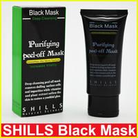 черная грязевая маска для кожи оптовых-Горячий продавать 50 мл SHILLS глубокое очищение очищающий шелушиться Черная грязь Facail маска для лица удалить угорь маска для лица гладкой кожи Shill уход