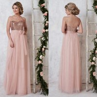 Wholesale Shiny Elegant Dress - Elegant Cheap Convertible Bridesmaid Dresses Under 90 Shiny Sequins Top A Line Light Pink Tulle Bridesmaid Gowns Wedding Guest Dress