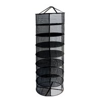 Wholesale mesh netting ribbon - 2ft 8 Layer Black Collapsible Mesh Hydroponic Drying Dry Rack Net With 2 Bottom Ribbons Easy Dry Rack Net For Plants Herbs Flowers