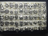 Wholesale Assorted Sports - Top Vintage Gothic Punk Assorted Skull Style Sports Bikers Silver Jewelry Ring (Size 8 to 12)