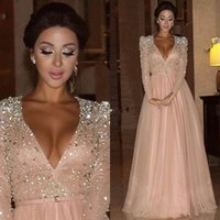 Wholesale White Star Line Silver - New Arrival Deep V Neck Long Sleeve Beading Crystl Tulle Celebrity Dresses Red Carpet Gowns for Star Custom Made Lace Evening Party Dress