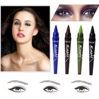 Wholesale Makeup Eyeliner Sticker - Wholesale- Brand Makeup lapis de olho Long Lasting Eyeliner Stickers Cosmetic Waterproof Eyeliner Gel Blue Brown Green Black Colored Pencil