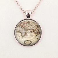 Wholesale Globe Maps - Free shipping Glass Dome Vintage globe necklace, vintage world pendant, world map jewelry, keepsake map pendant