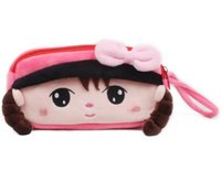 Wholesale kids wallets online - New Cute Cartoon Pencil Case Plush cm Large Pencil Bag for Kids School Supplies Material Korean Stationery Wallets