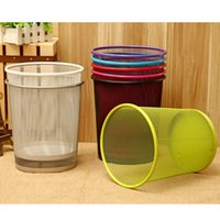 Wholesale Stainless Steel Waste Cans - 7 Color Round Metal Iron Classic Mesh Wastebasket Waste Basket Home Office Sundries Trash Can Dustbin Garbage Bin Without Lid