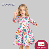Wholesale T Shirt Kids China - Brand new pink flower dress Designer dresses for kids High quality long sleeved round neck print style Best wholesale from china