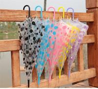 Wholesale Colored Umbrellas Wholesale - Transparent Clear Spot Umbrella Long Handle PVC Umbrellas Dance Performance Beach Wedding Party Favor Colored Spot Umbrellas for Women Girls