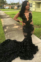 Wholesale Satin Lace Robe Long - Sexy See Through Black Cascading Ruffles Prom Dresses 2017 Sheer Long Sleeves Robe de soiree Evening Party Dresses Vestido De Fiesta
