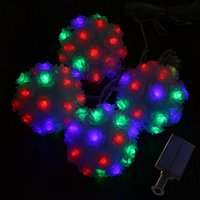 Wholesale Hanging Outdoor Christmas Decorations - New Arrival Solar Powered LED Rose Flower Lamp RGB Fairy String Light Outdoor hanging lamp for Wedding Christmas Party Garden Decoration