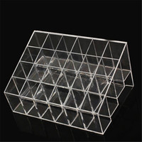 бесплатная подставка для макияжа оптовых-Wholesale-24 Grids Trapezoid  Display Stand Lipstick Case Cosmetic Organizer Holder Transparent Shelf free shipping