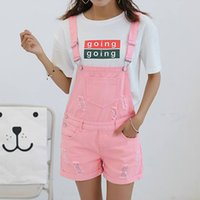 Wholesale Denim Overalls For Ladies - Wholesale 2017 New Arrival Summer Girls Denim Jumpsuits For Women Pink Holes Hem Rolled-up Loose Ladies Black Shorts Preppy Style Overalls