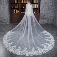 Wholesale Headdress Cathedral Veil - 2017 new White 3 meters double Net Lace Applique bride accessories Muslim sequined veil headdress with comb cheap shipping